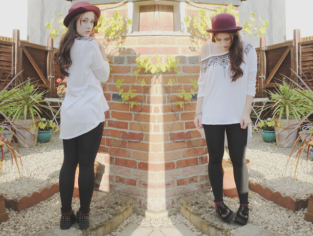 H&M bowler hat jumper creepers leggings outfit