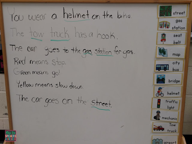 Vocabulary-transportation unit-sentences