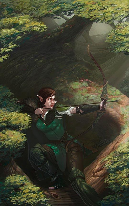 Ilustración, Elven Archer de Ivar Osorio