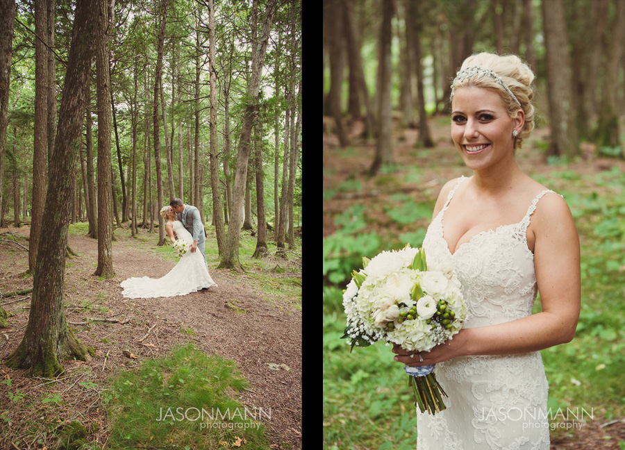 Rustic Door County wedding at Gordon Lodge. First look. White and green bridal bouquet. Photo by Jason Mann Photography, 920-246-8106, www.jmannphoto.com