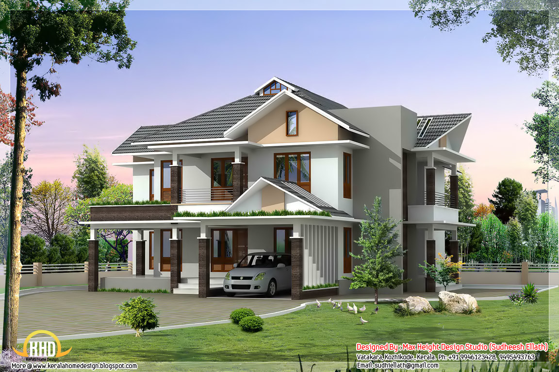 2850 ultra modern house elevation kerala home for House elevation photos architecture