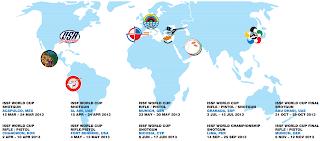 Mapa da sedes dos eventos da Copa do Mundo ISSF de Tiro Esportivo 2013