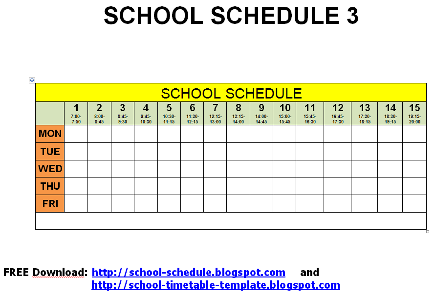 class timetable template free