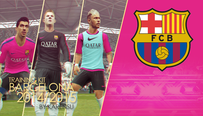 PES 2013 Barcelona Trainig Kit 2014/2015 by karensu