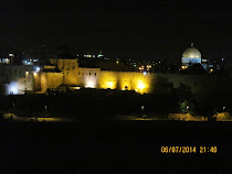 Floodlit view of Jerusalem Walls and Dome of The Rock, Jerusalem