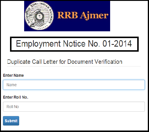 RRB Ajmer CEN 01-2014 ALP Final Result After Aptitude Test | Download Duplicate Call Letter for Document Verification-DV