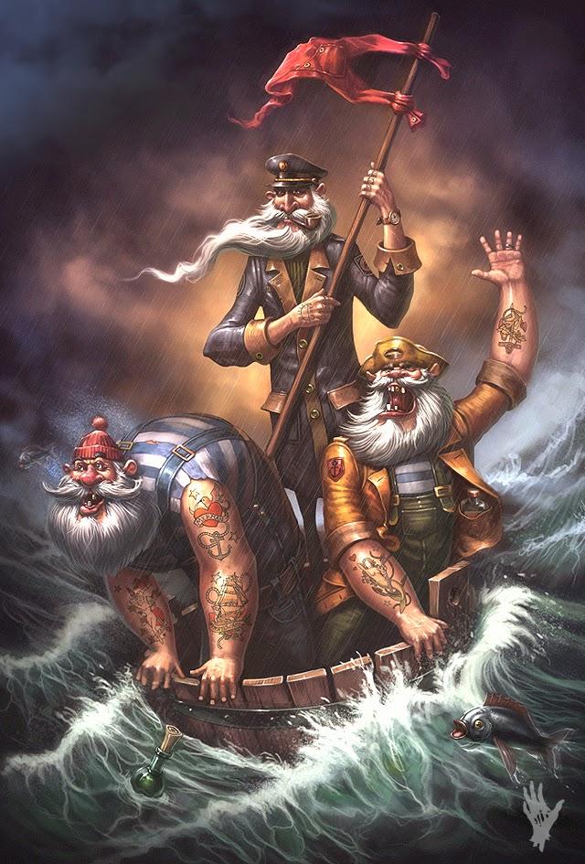 illustration de Alexander Shatohin représentant  des marins dans un tonneau