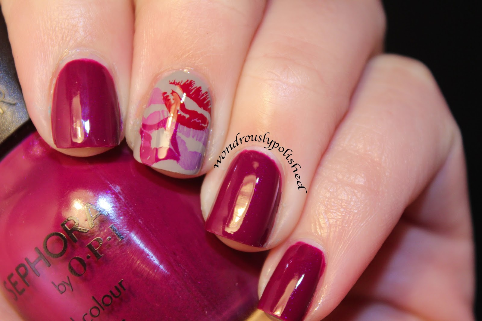 Wondrously Polished February Nail Art Challenge Day Smooch