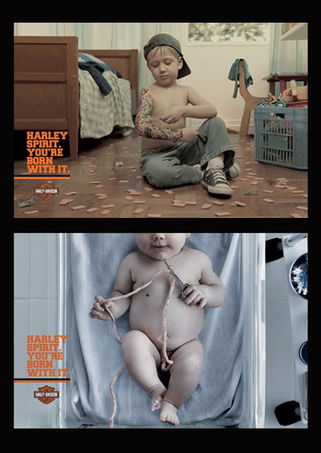 Harley Davidson, enfants, Street marketing, Marketing alternatif