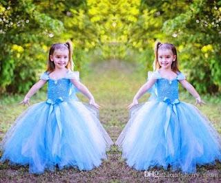 Dress tutu elsa frozen cantik untuk anak perempuan
