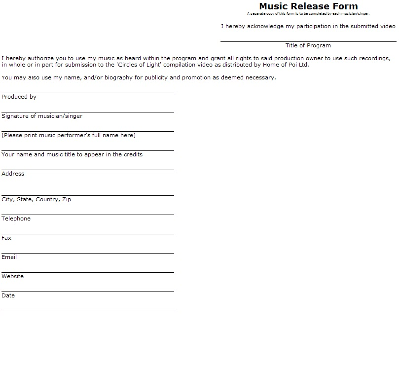 Examples Of Release Forms Pictures to Pin PinsDaddy – Video Release Form