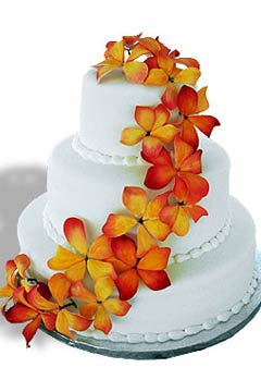 Three Tier Round Wedding Cake With Orange Tropical