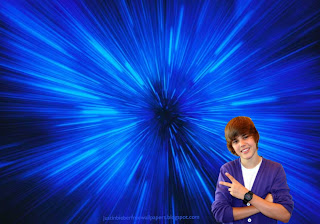 Wallpaper of Justin Bieber Saluting the Fans in Blue Vortex desktop wallpaper image