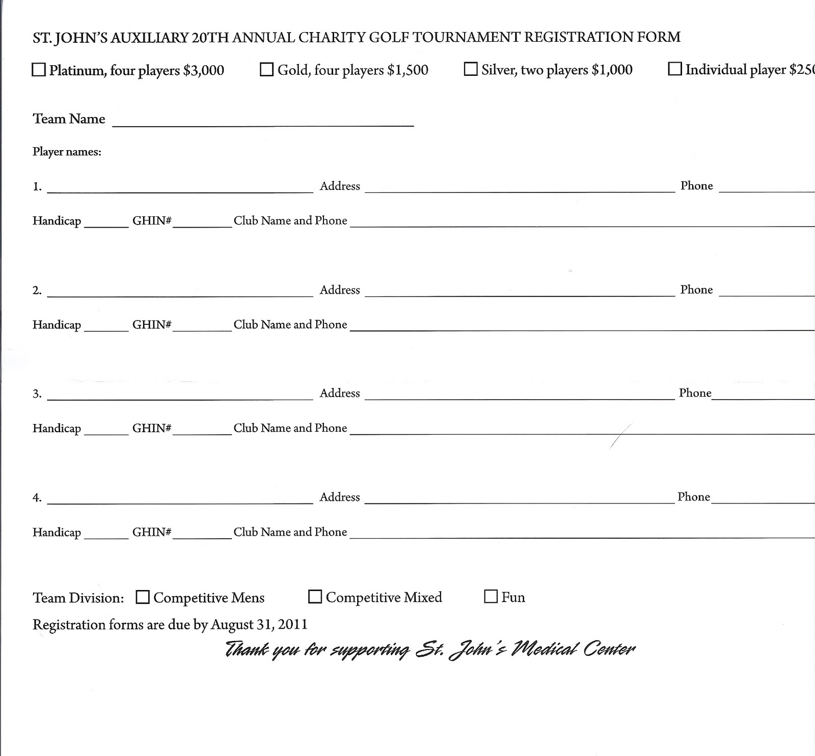 St johns charity golf tournament 2011 jackson hole wy entry entry form for the golf tournament is available sciox Gallery