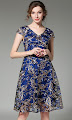 New 2017 Short Sleeve Gold Floral Embroidery Blue Lace A-Line Dress