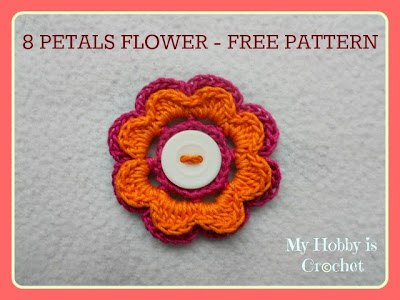 crochet flower 2 layers, 8 petals