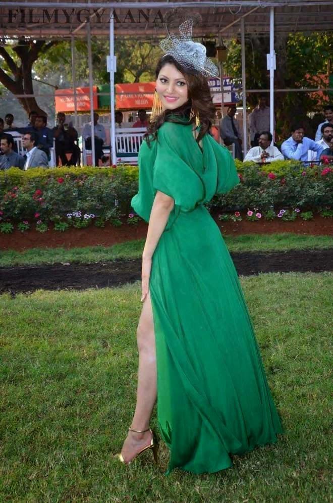 urvashi rautela spicy legs photos in green dress