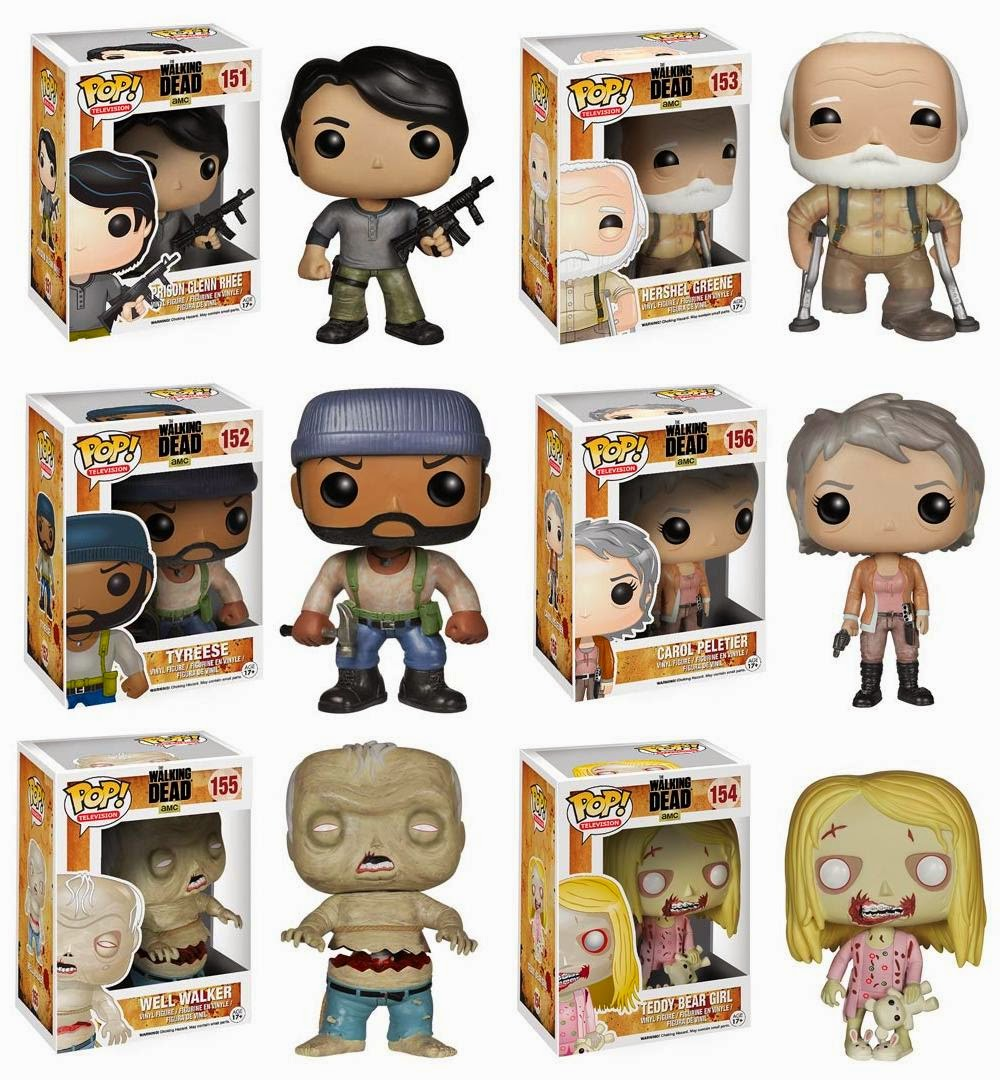 The Walking Dead Pop! Television Wave 4 Vinyl Figures by Funko - Prison Glenn Rhee, Hershel Greene, Tyreese, Carol Peletier, Well Walker & Teddy Bear Girl Walker