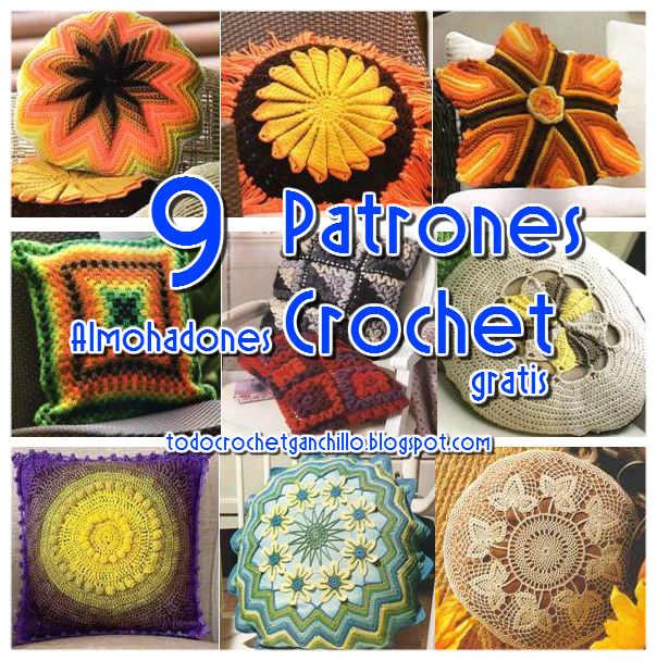 Los mejores 9 almohadones para tejer / patrones crochet | Todo crochet