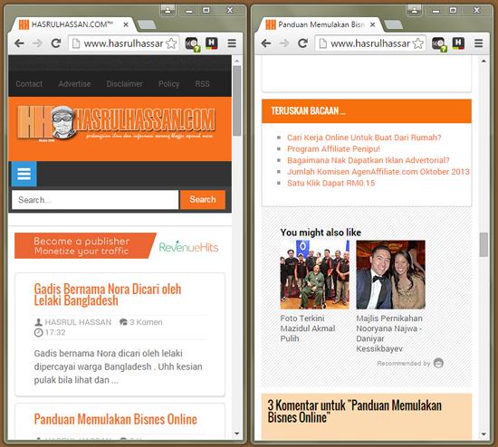 Contoh blog mesra mobile dan responsif