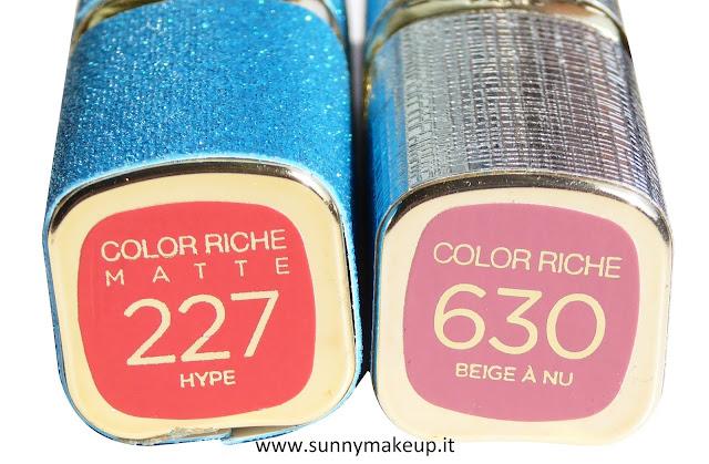 L'Oreal Paris - MyColorObsession by Color Riche. Rossetti della collezione Venezia 2015 nelle colorazioni 227 Hype e 360 Beige A Nu.
