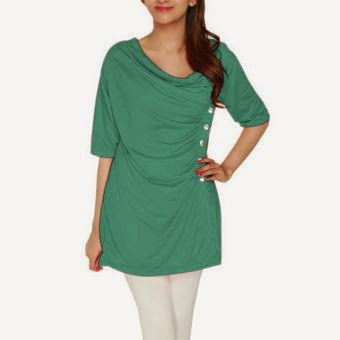 Green - Top, Cotton Viscose With Side Buttons