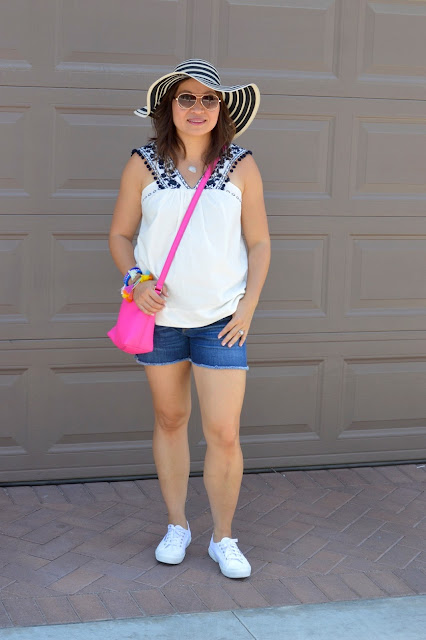 J Crew pom pom top, J crew shorts, OC Blogger, Fashion over 40, Superga platform sneakers