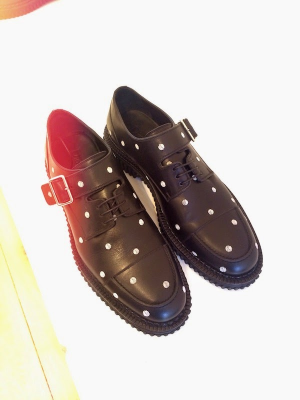 Dior Homme by Kris Van Assche polka dots embroidered leather shoes Fall Winter 2014