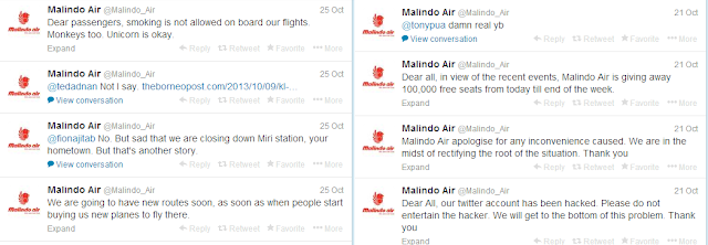 Malindo Air Twitter hacked, funny tweets by hacker