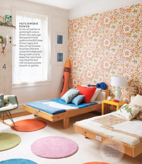 Paredes decoradas y muebles infantiles sencillos