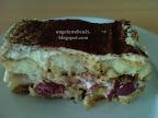 Hamis tiramisu 2, meggyel és kakaóporral, sütés nélküli sütemény recept.