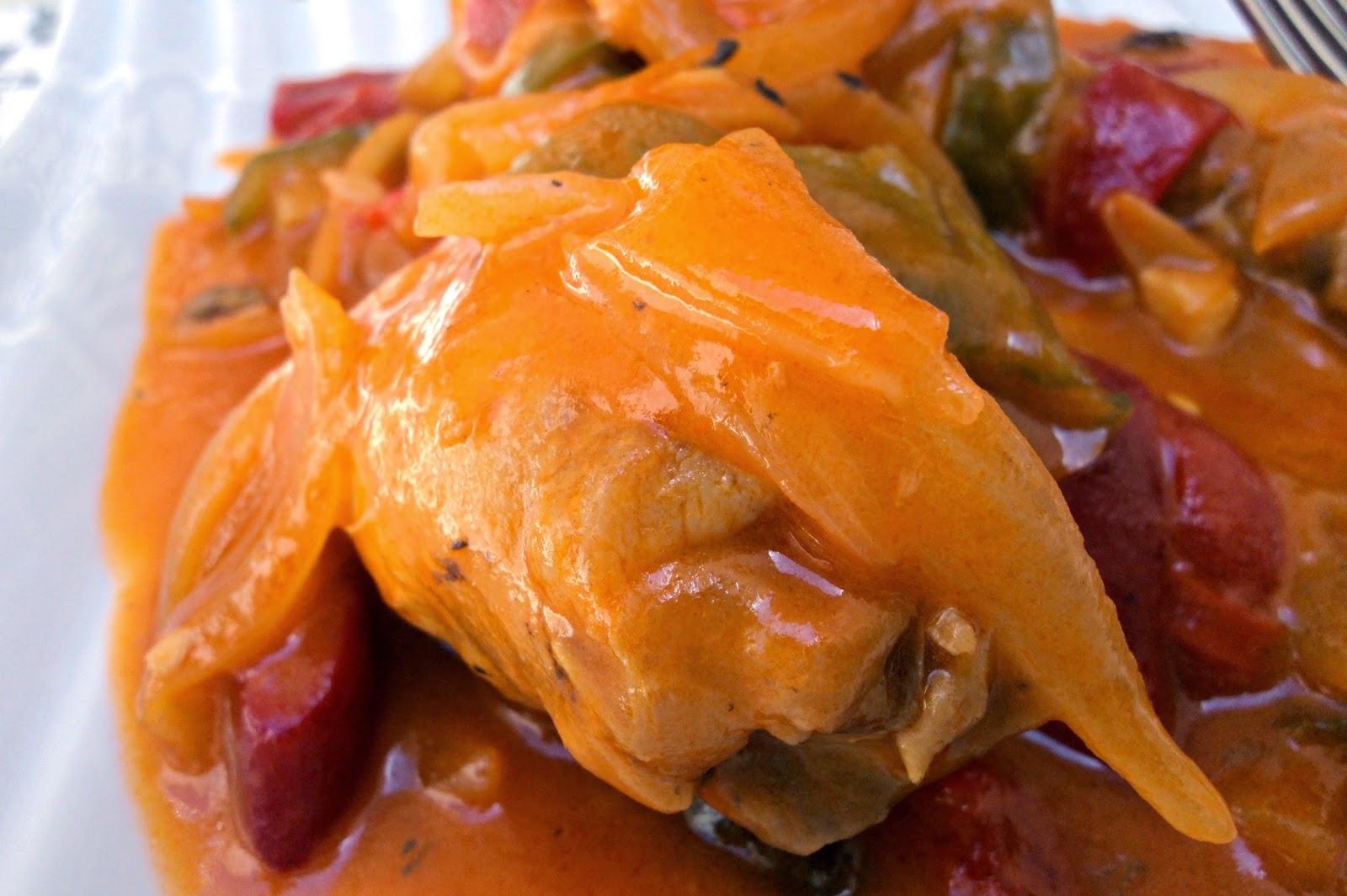receta casera pollo salsa verduras chilindrón