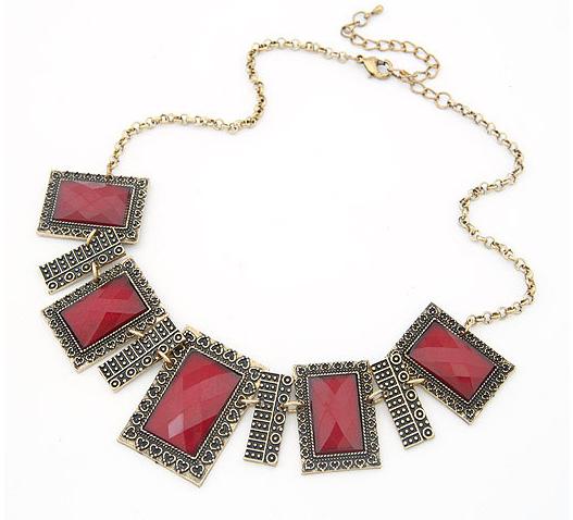 Aksesoris: Kalung Batu Imitasi Merah (AHG-378)