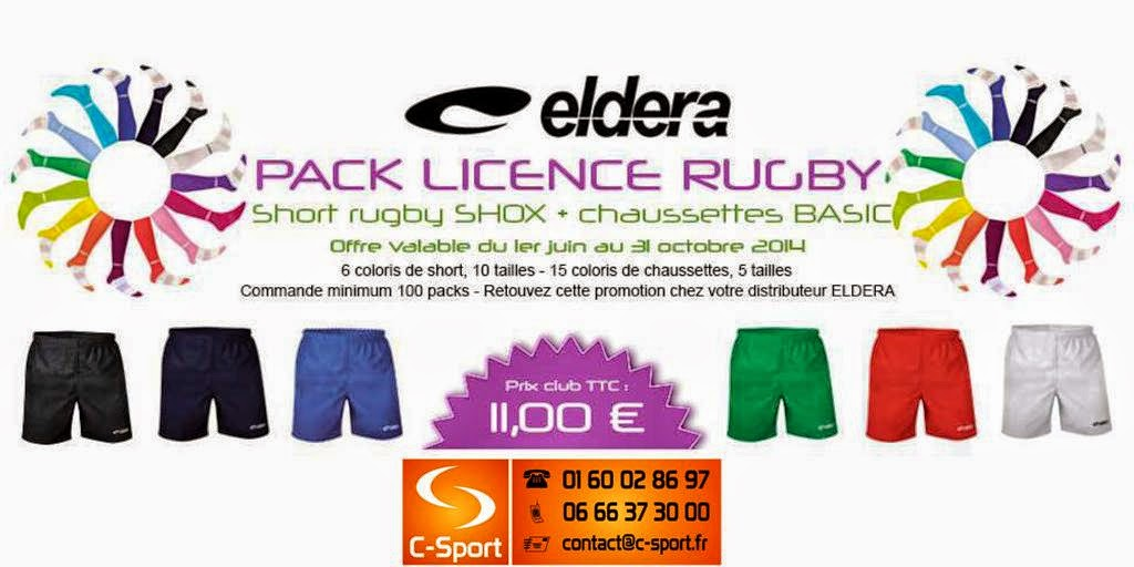 PACK LICENCE RUGBY = Short RUGBY SHOX + Chaussettes BASIC = 11 €