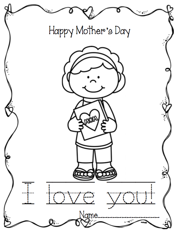 Mother S Day Coloring Worksheet : Mother s day writing coloring pages preschool printables