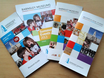 Four leaflets arranged in a fan, Experience Barnsley, Barnsley Museums Summer Events 2013, Barnsley Museums and Archives and Local Studies.