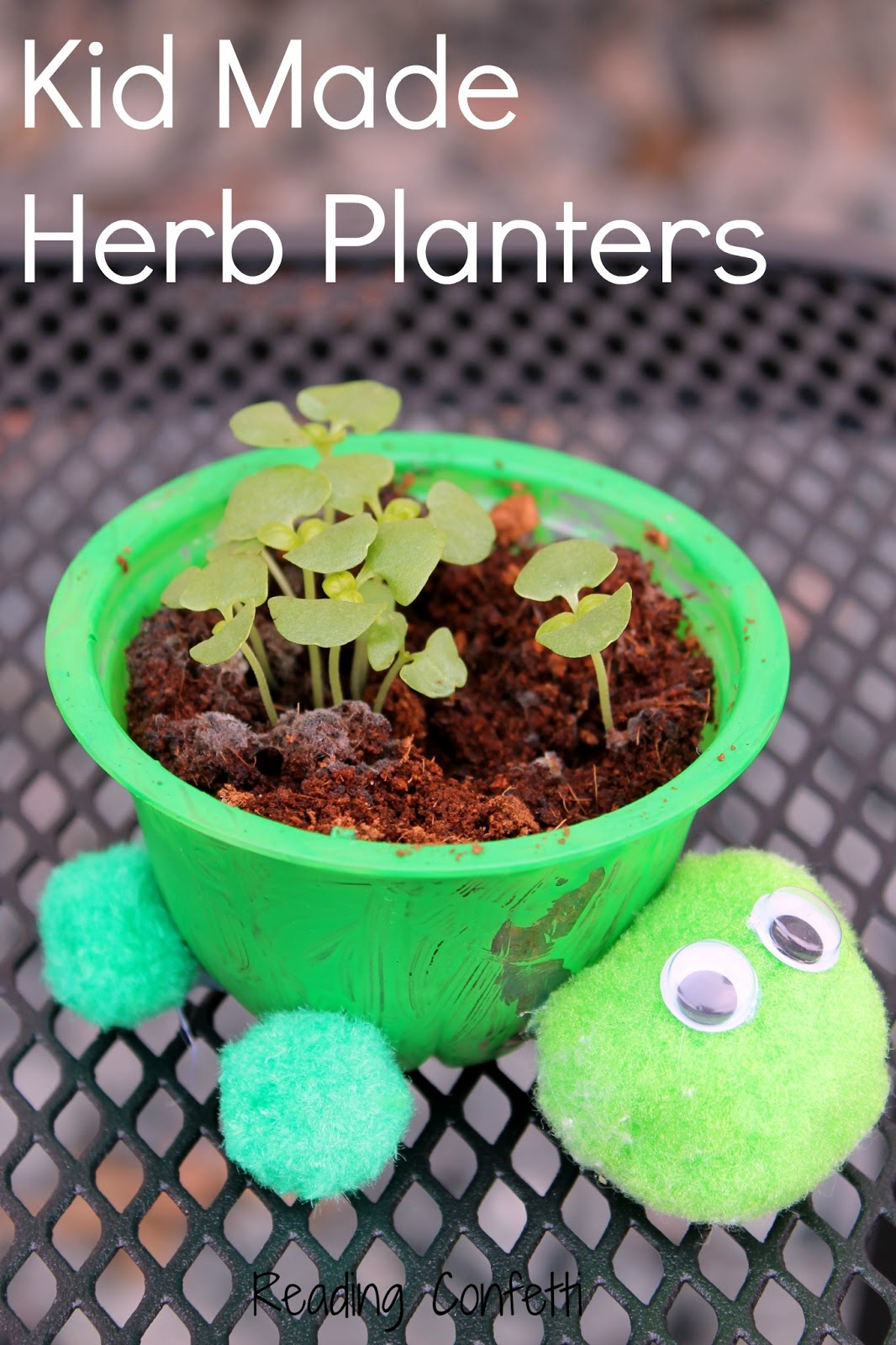 Herb Planters kid made turtle herb planters ~ reading confetti