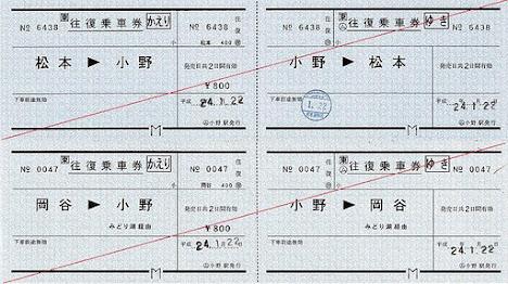 JR東日本 小野駅 常備軟券乗車券3 常備往復乗車券
