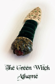 The Green Witch Athame crafted from Ash from MoonsCrafts