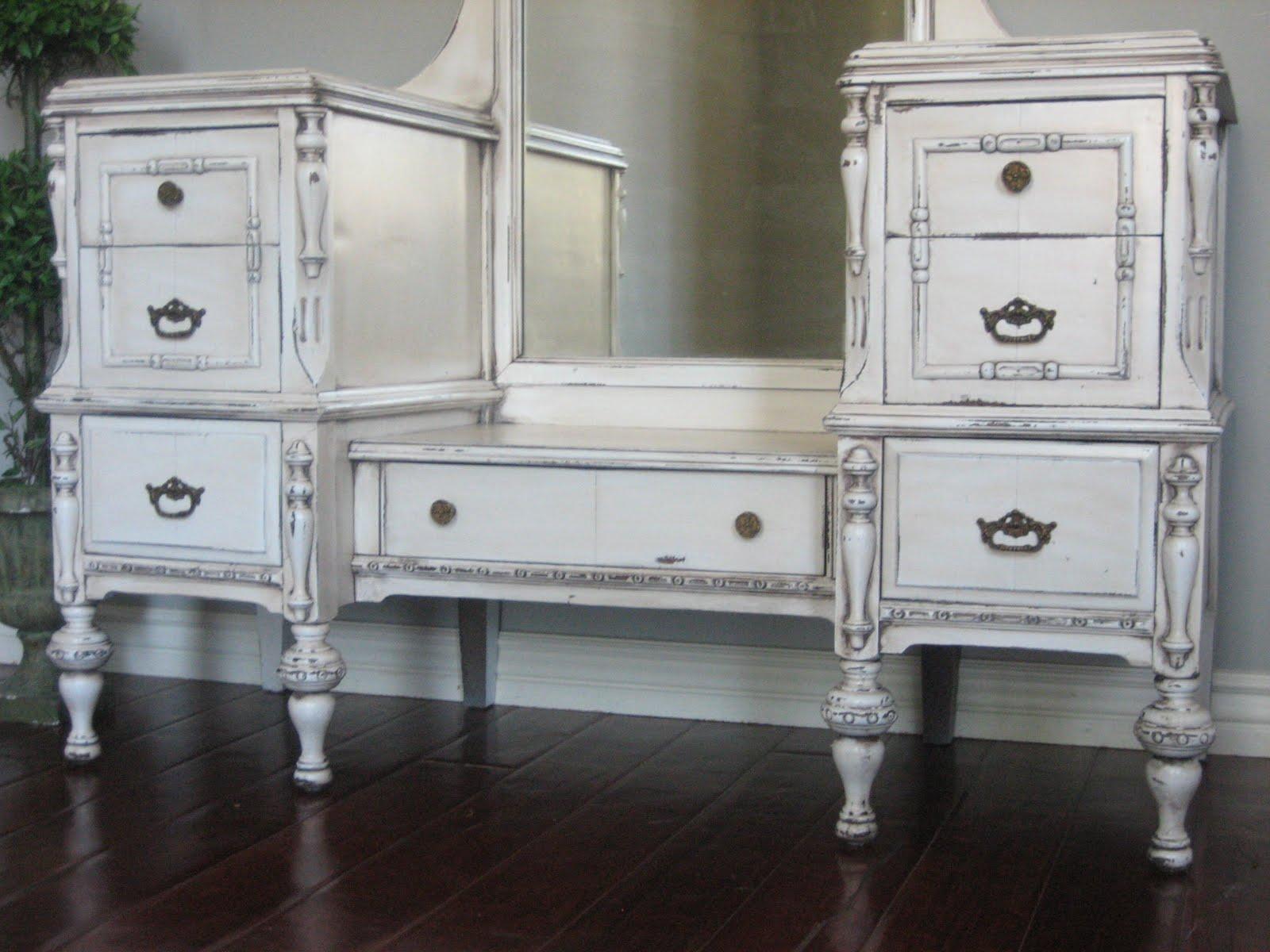 European Paint Finishes Antiqued Ivory Dressing Vanity