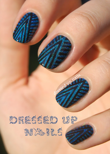 Dressed Up Nails - futuristic art deco nail art with Super Black Lacquers Torque and Murdered Out