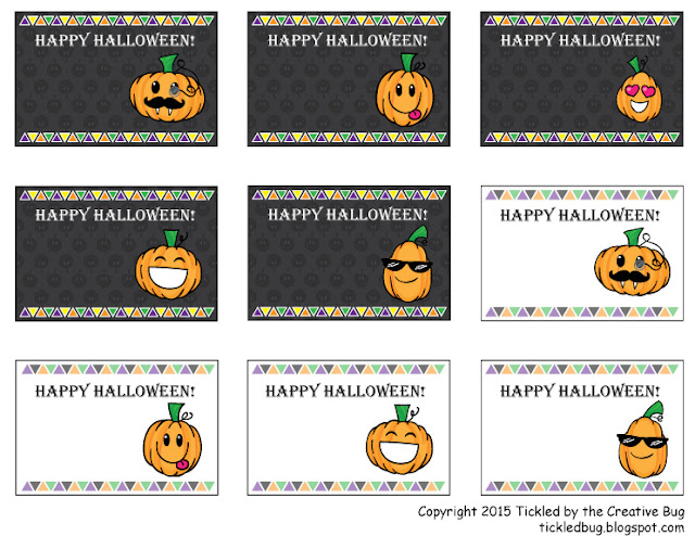 Collection of 9 emoji pumpkin tags for halloween to download and print