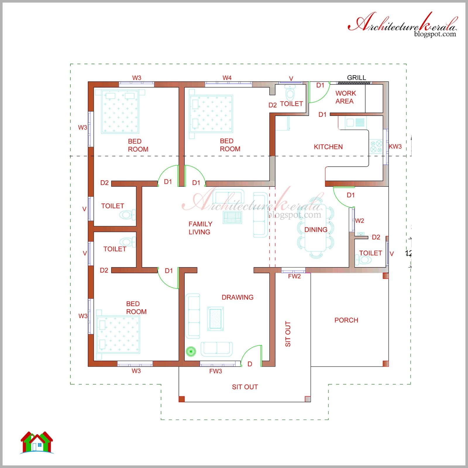 Elevation floor plan house