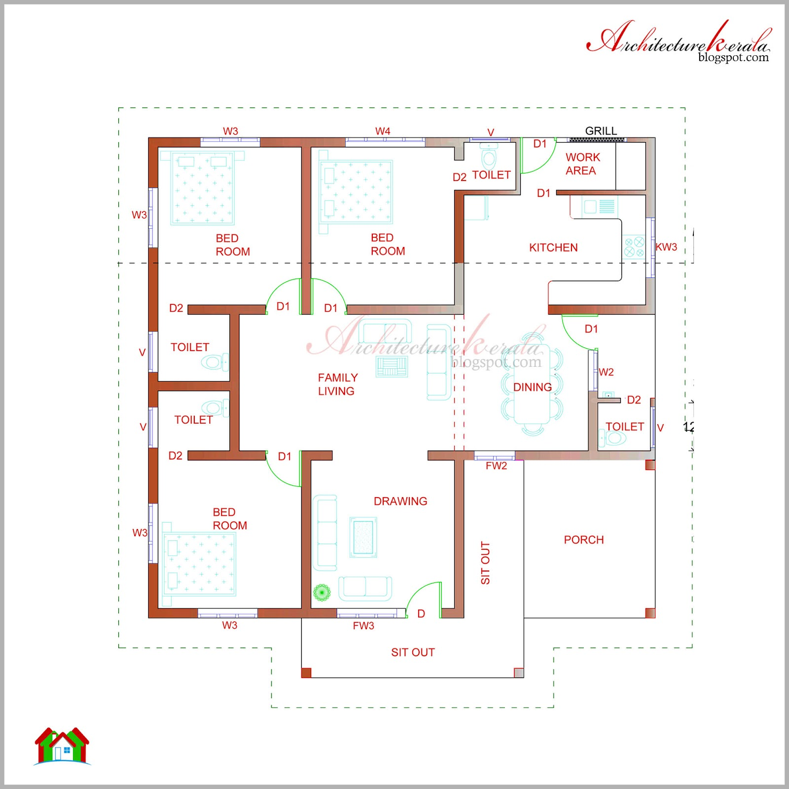 Architecture kerala beautiful kerala elevation and its for Home map design free layout plan in india