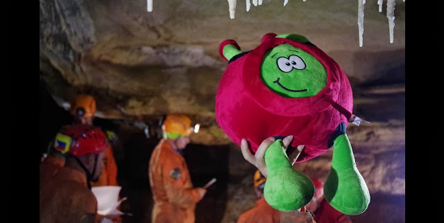 ESA Kids mascot Paxi admiring the speleothems during CAVES 2013 training. Credit: ESA-V.Crobu