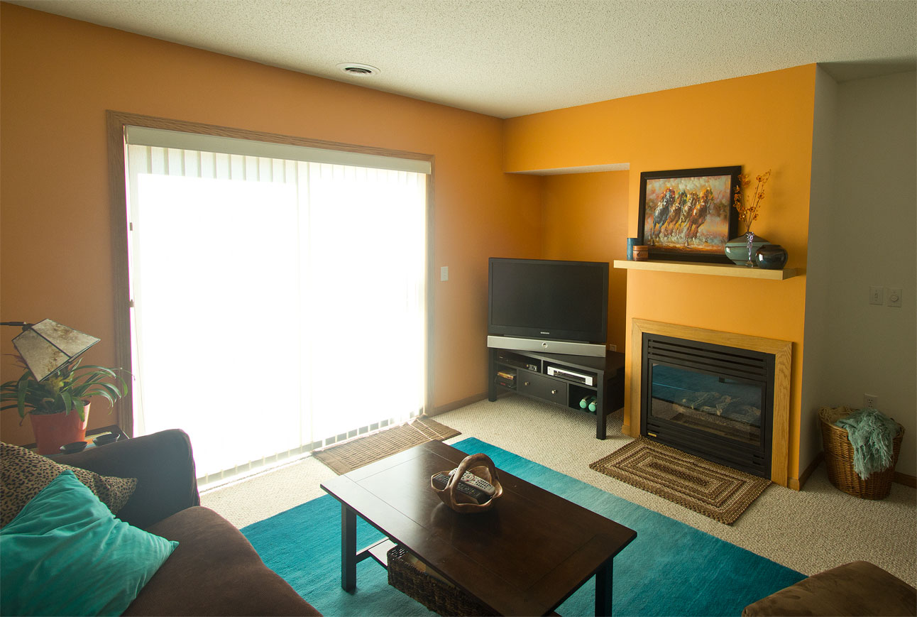 Gallery brown orange and turquoise living