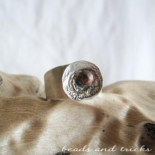 Anello in argento 800 di recupero e rame fuso