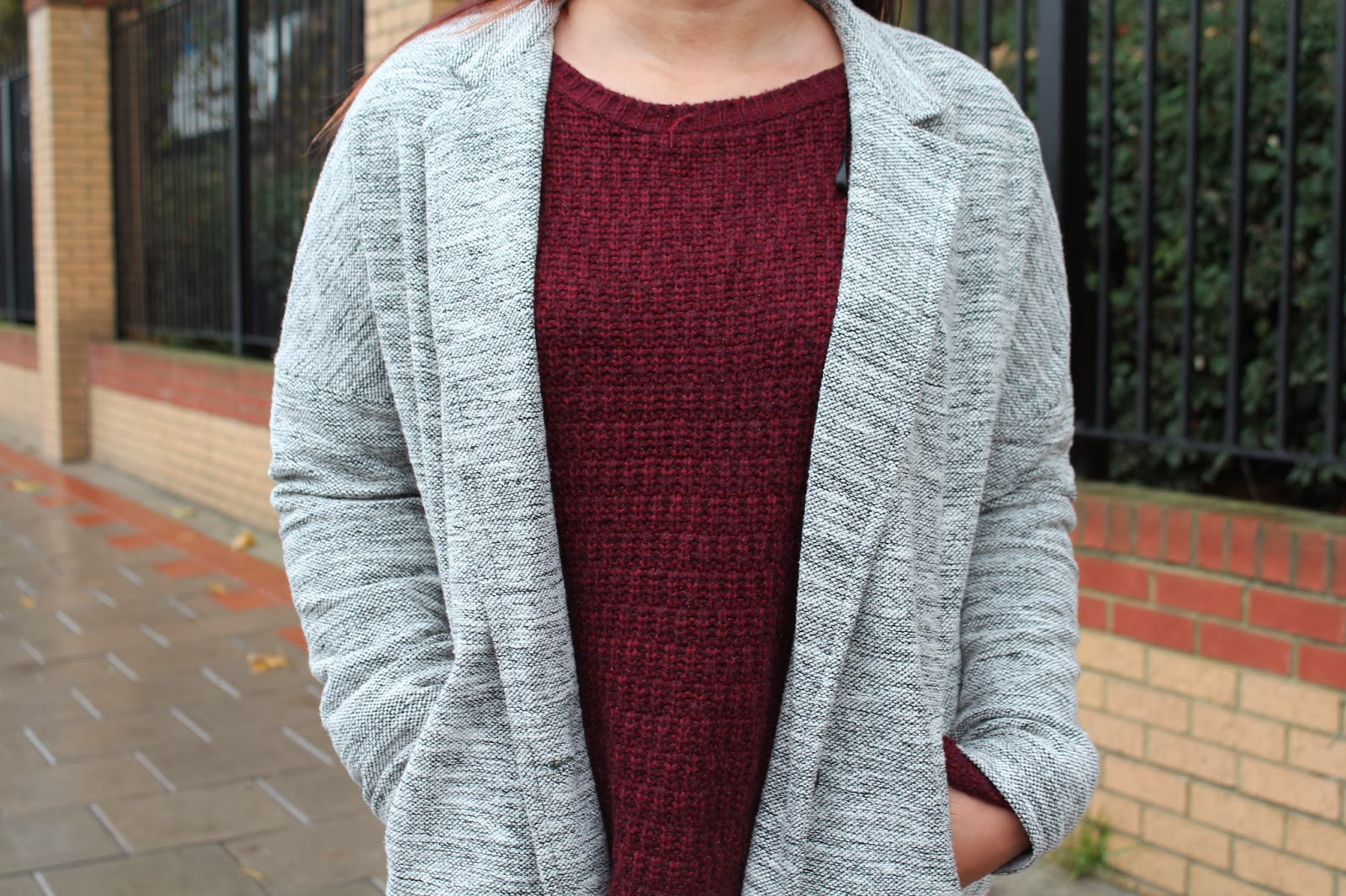 Grey marl single button boyfriend jacket