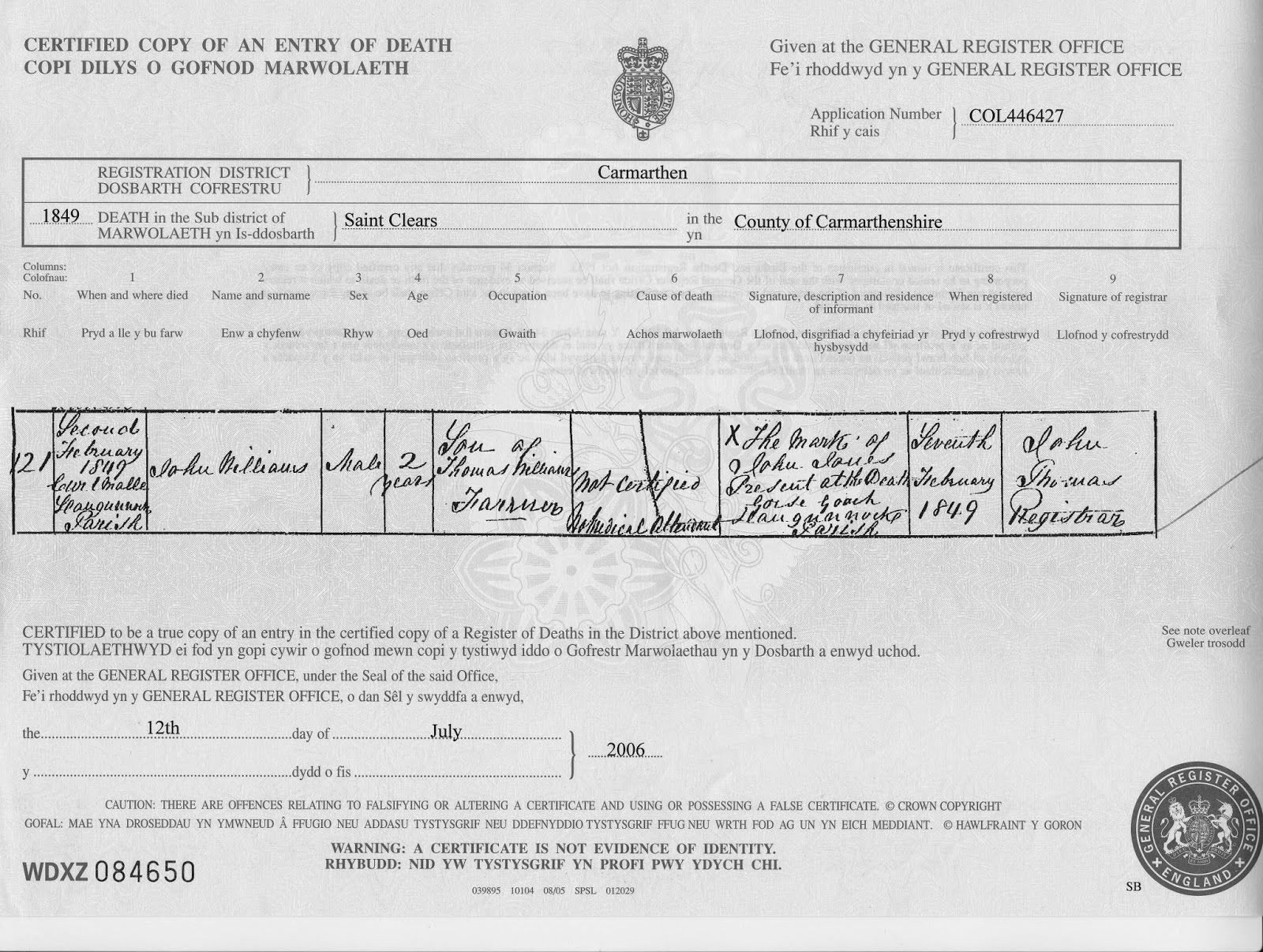 Evans jones welsh family history john williams death certificate aiddatafo Gallery