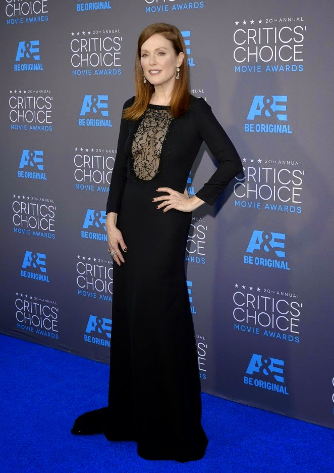 Julianne Moore in a black Saint Laurent gown at the 2015 Critics' Choice Movie Awards